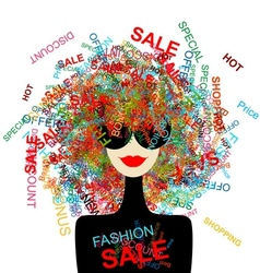 I love sale Fashion woman with shopping concept vector image