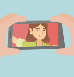 young caucasian woman making selfie vector image