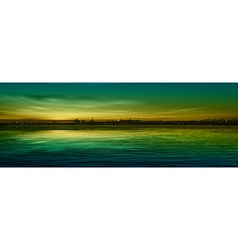 abstract nature green background with panorama of vector image