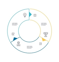 Circular chart diagram with 3 steps options vector image vector image
