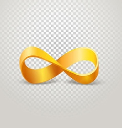 Infinity golden sign on transparent background vector image