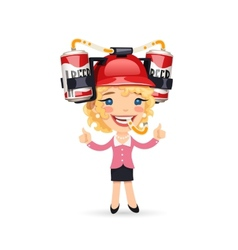 Office Girl with Red Beer Helmet on Her Head vector image