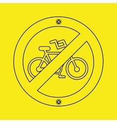 prohibited traffic bike sign round icon design vector image