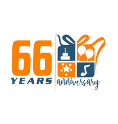 66 years gift box ribbon annivers vector