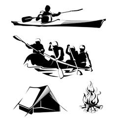 camping rafting labels logos emblems vector image vector image