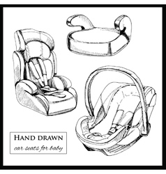 car seats for baby on white background vector image vector image
