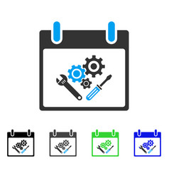 instrument tools calendar day flat icon vector image vector image