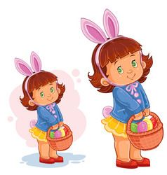 little girl with bunny ears and a basket vector image