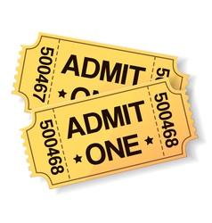 pair of yellow cinema tickets vector image