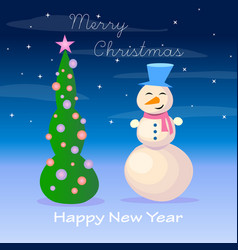 snowman and christmas tree on a blue background vector image