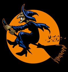 Witch ride a flying broomstick vector image