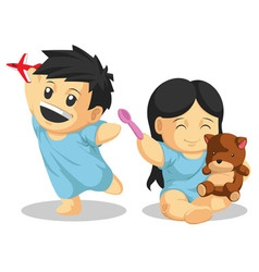 Boy Girl Patient Playing vector image