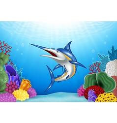 Cartoon Xiphias with Coral Reef Underwater vector image vector image