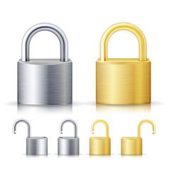 locked and unlocked padlock realistic set vector image