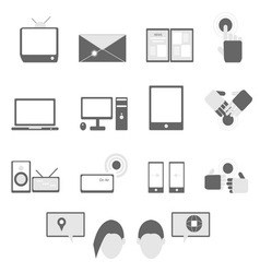 Media and communication icons on white background vector image