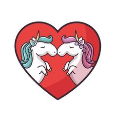 Two unicorns in love vector