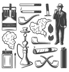 vintage smoking elements collection vector image