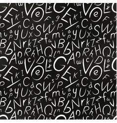 white chalk hand-drawn cursive letters on black vector image