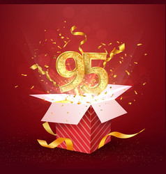 95 th years number anniversary and open gift box vector image