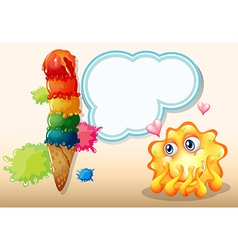 A super in-love monster near the giant icecream vector image