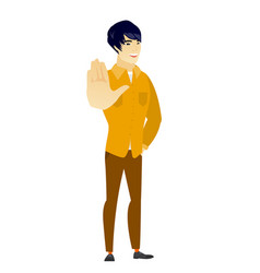 asian business man showing palm hand vector image