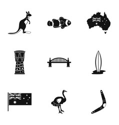 Australia icon set simple style vector