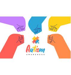 Autism awareness day children hand fist bump card vector