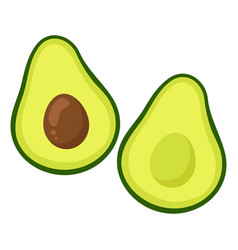 avocado slices cartoons vector image
