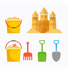 beach sand castle with childrens bucket sand vector image