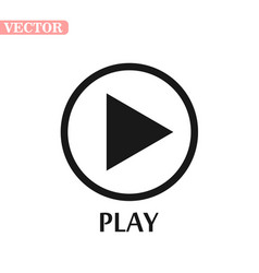 Black and white play icon vector