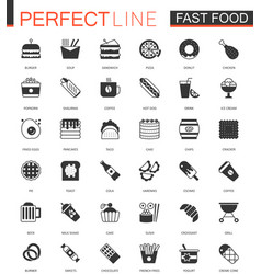 black classic fast food web icons set vector image