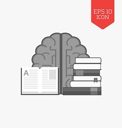 Books and brain icon Education concept Flat design vector image