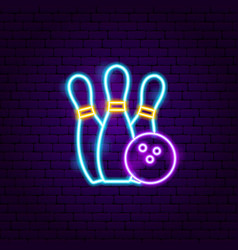 bowling neon label vector image