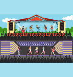 boys and girls music bband performing on stage in vector image