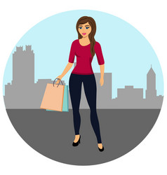 Buyer girl with shopping bags from the store vector