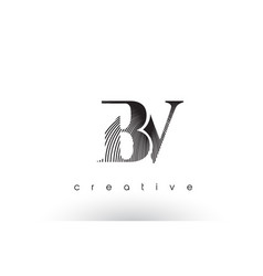 bv logo design with multiple lines and black and vector image