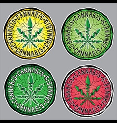 Cannabis Marijuana hemp textured leaf stamps vector