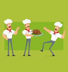 Cartoon flat strong chef cook man character set vector