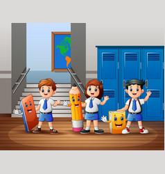 Cartoon happy students at school vector