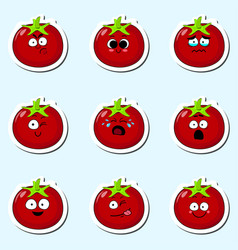 Cartoon tomato cute character face sticker vector