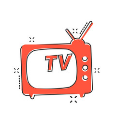 cartoon tv icon in comic style television sign vector image