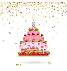 Celebratory cake with confetti vector
