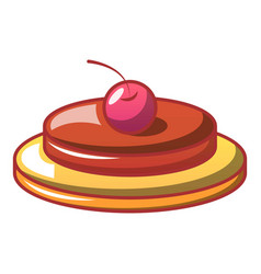 cherry on cake icon cartoon style vector image