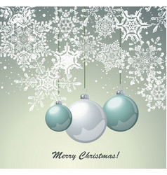 christmas card design with glass balls and vector image