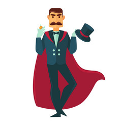 circus magician man with magic hat flat vector image