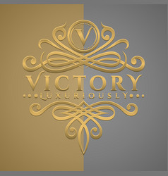 classic luxurious letter v logo with embossed vector image