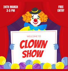 clown show invitation poster or banner circus vector image