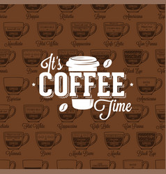 Coffe time logo on seamless pattern coffee type vector