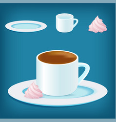 coffee cup with zephyr marshmellow vector image