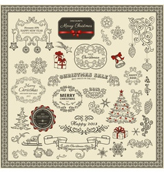 collection christmas elements vector image